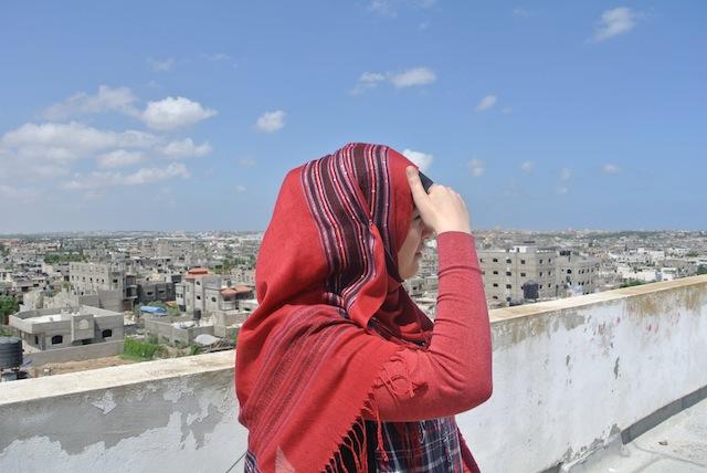 Vår vän Taghrid ser ut över Beit Hanoun