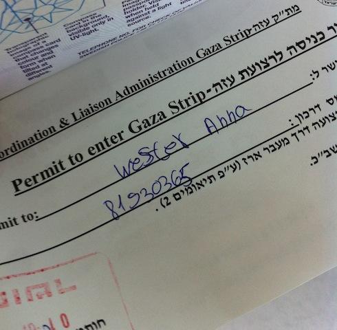 Tillstånd från Israel att resa in i palestinska Gaza