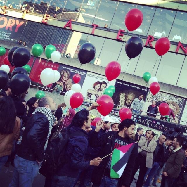 Förra årets Nakbamanifestation på Sergels torg